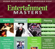 Website and logo redesign for Entertainment Masters, an event planning and supply company.