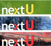 Logo and eBlast banner design for nextU.
